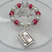 Number 1 Teacher Wine Glass Charm - Full Sparkle Style